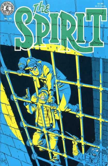 Spirit 25 - The Spirit - Kitchen Sink - Climbing - Two Men - Blue Background - Will Eisner