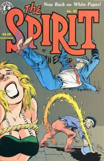 Spirit 30 - Green Top - Tied Up - Blue Suit - No 30 - Yellow Hair - Will Eisner