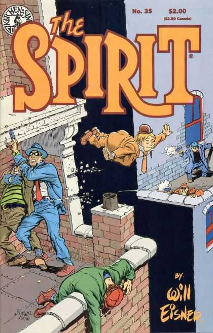 Spirit 35 - Flying - Masked Man - Gun - Will Eisner - Shootout - Will Eisner