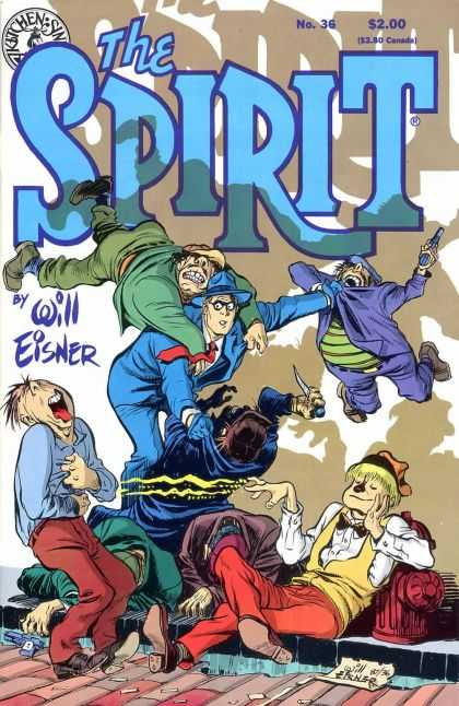 Spirit 36 - Will Eisner - Fire Hydrant - Gun - Men - Knife - Will Eisner