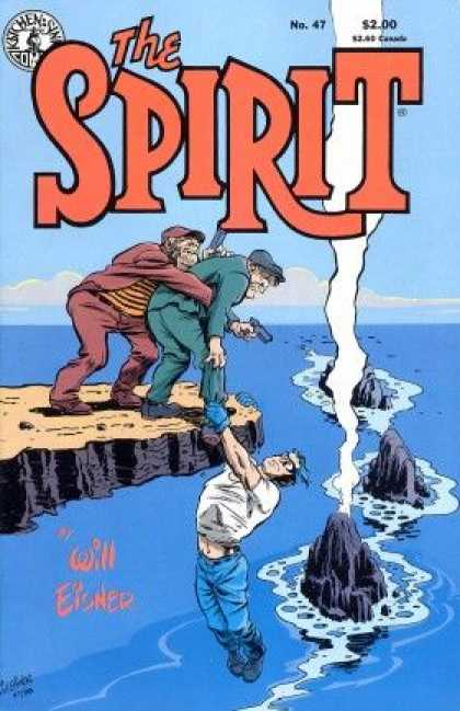 Spirit 47 - Cliff By The Ocean - Man Hanging From Cliff - Man With Gun - Rocks In The Ocean - Man About To Fall From Cliff - Will Eisner