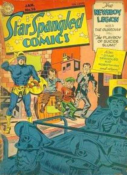 Star Spangled Comics 16 - Oh Say Can You See The Comic - Extra Extra Read All About It The Newsboy Legion - Stay Out Of The Slums - The Guardian Will Protect You Or At Least Try - Freedom For All - Jack Kirby, Joe Simon