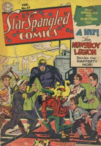 Star Spangled Comics 17 - Newsboy - Clothesline - Children - Sticks - Rafferty Mob - Jack Kirby, Joe Simon