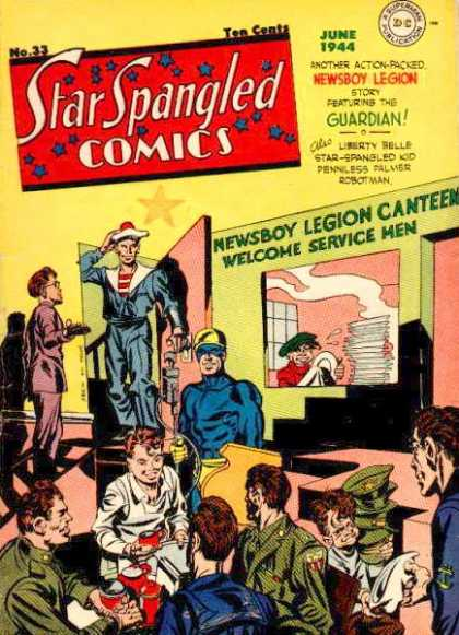 Star Spangled Comics 33 - Office - Sailor In Door - Club - Army Hats - Red Mugs
