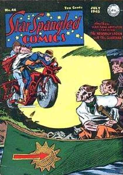 Star Spangled Comics 46 - Night - Motorcycle - Boat - Oar - Villians