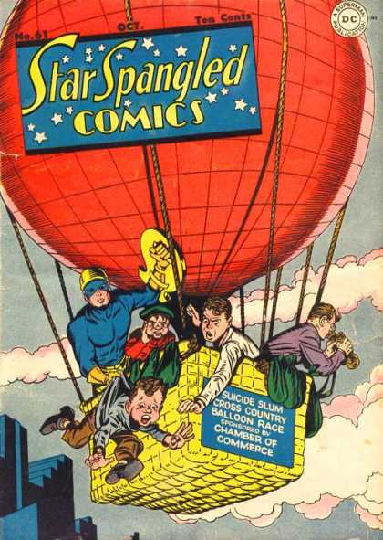 Star Spangled Comics 61 - Balloon - Country - Race - Clouds - Shield