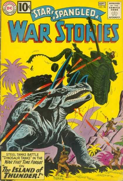 Star Spangled War Stories 98 - Superman - Comics Code - Dinosaur Tank - The Island Of Thunder - Steel Tanks Battle - Ross Andru