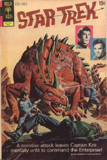 Star Trek 14 - Spock - Dinosaur - Gold Key - A Monster Attack Leaves Captain Kirk Mentally Unfit To Command The Enterprise - Monster