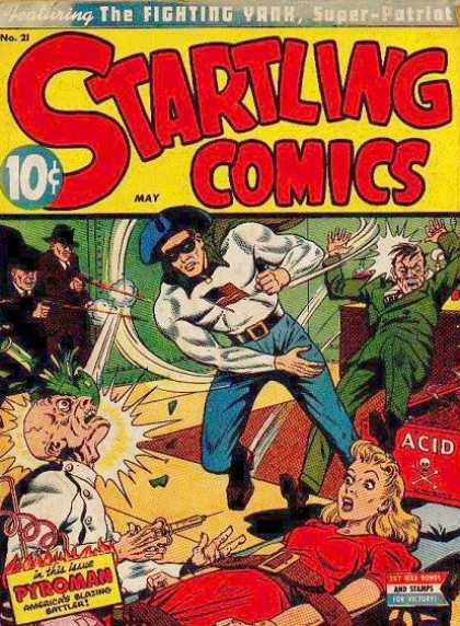 Startling Comics 21 - Fighting Yank - Super-patriot - Pyroman - Acid - Stamps