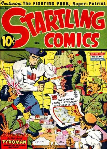 Startling Comics 24 - Japanese Secret Strategy - Fighting Yank Super-patriot - American Flag - Guns - Maps