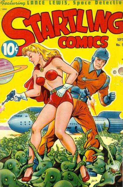 Startling Comics 53 - Aleiens - Lance Lewis - Spaceship - Outer Space - Planets