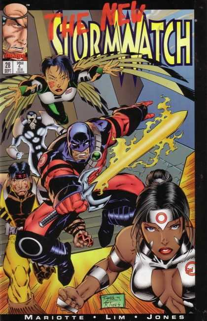 Stormwatch 28 - Yellow Sword - Angel - Silver Armour - Black Hair - Head Bands - Ron Lim