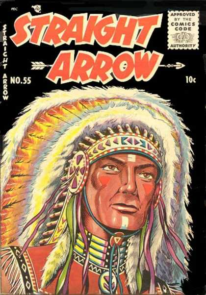 Straight Arrow 55 - Indian - War Paint - Head Dress - Feather - White Stripe