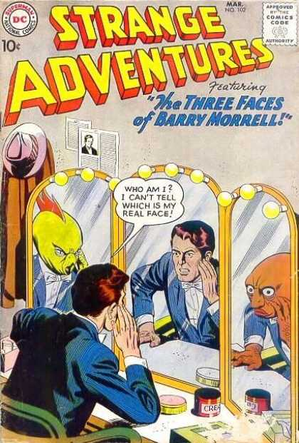 Strange Adventures 102 - Three Faces - Barry Morrell - Aliens - Mirror - Comics Code Approved