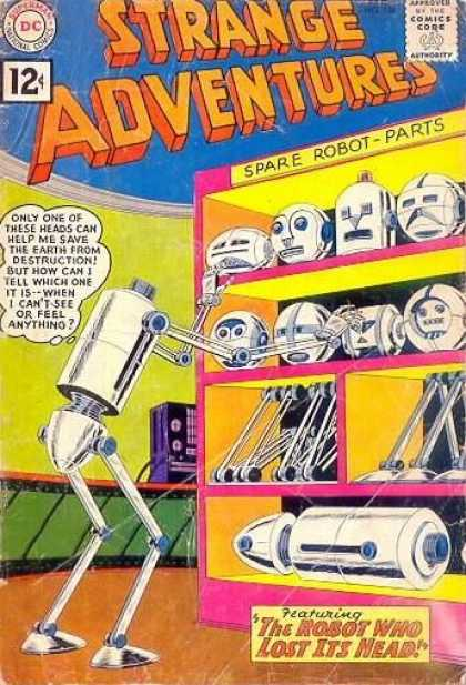 Strange Adventures 136 - Robots - Spare Parts - Science Fiction - Heads - Trying To Save Earth From Distruction - Murphy Anderson