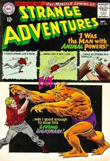 Strange Adventures 180 - Animal Powers - Red Shirt - Running - Swimming - Gorilla - Carmine Infantino