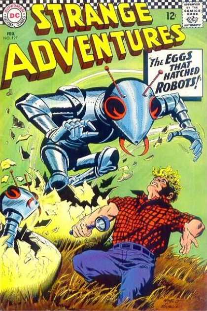 Strange Adventures 197 - Dc Comics - The Eggs That Hatched Robots - Antenna - Grass - Blue Jeans - Carmine Infantino, George Roussos