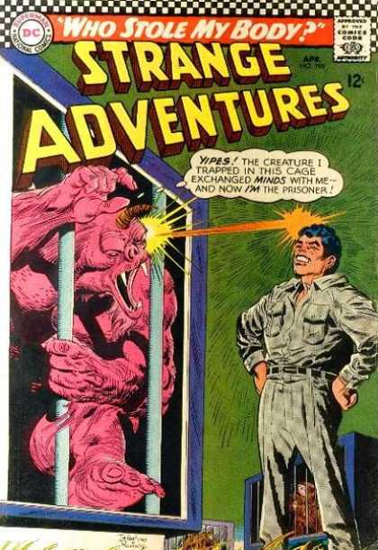 Strange Adventures 199 - Who Stole My Body - 12c - Yipes The Creature I Trapped In This Cage Exchanged Minds With Me And Now Im The - Red Monster - Man - Carmine Infantino, George Roussos