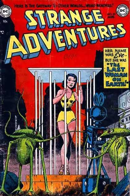 Strange Adventures 23 - Woman - Cage - Blue Robot - Green Aliens - Machinery