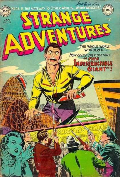 Strange Adventures 28 - Roller Coaster - Guns - Policeman - Woman - Amusement Park