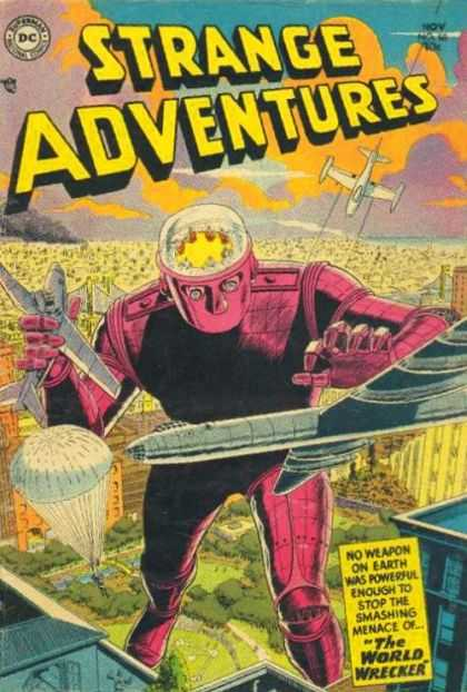 Strange Adventures 50 - Head - Building - Airplanes - Sky - Street