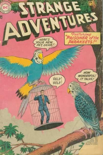 Strange Adventures 52 - Prisoner - Parakeets - Brid Cage - Limb - Tree