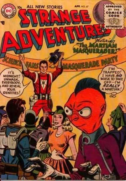 Strange Adventures 67 - Martian Masquerader - Science Fans Masquerade Party - Red Faced Martion On The Front Of Cover - Issue 67 - Party On The Cover
