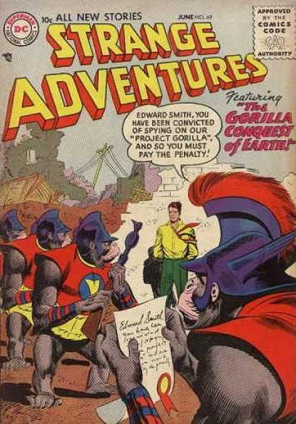 Strange Adventures 69 - Strange Adventures - All New Stories - Edward Smith - The Gorilla Conquest Of Earth - Approved By The Comics Code Authority