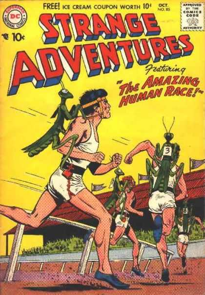 Strange Adventures 85 - Human Race - Race - Stadium - Running People - Flags