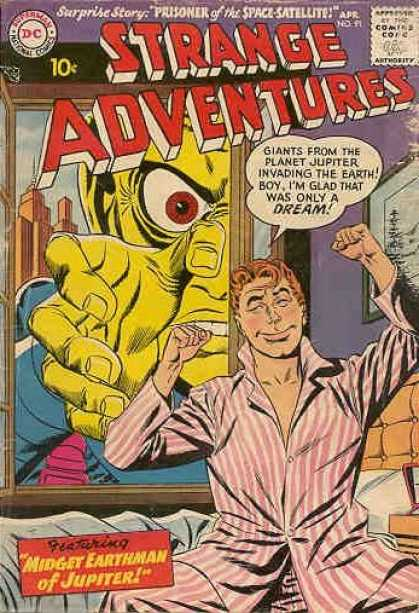 Strange Adventures 91 - Dc - Midget Earthman Of Jupiter - Prisoner Of The Space Satellite - Giants From Planet Jupiter - Only A Dream