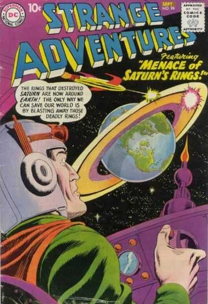 Strange Adventures 96 - Menace Of Saturns Rings - Planet - Earth - Space - Spaceship