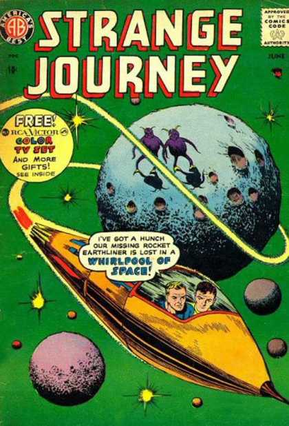 Strange Journey 4 - Free Color Tv Set - Aliens - Blue Planet - Rocket Ship - Stars