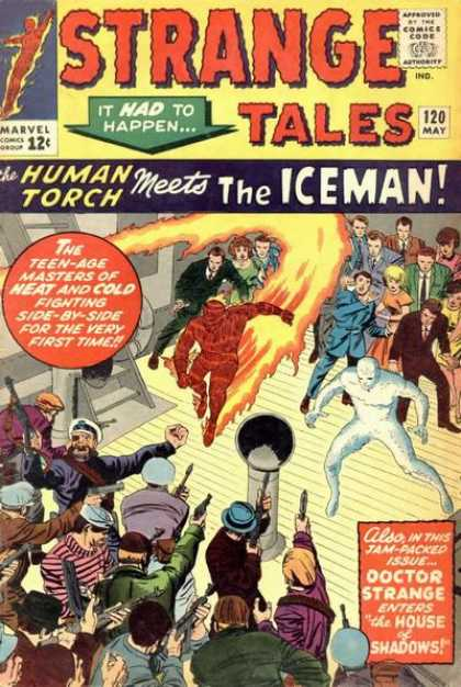 Strange Tales 120 - Human Torch - Iceman - Guns - Flame - Ice - George Roussos, Jack Kirby