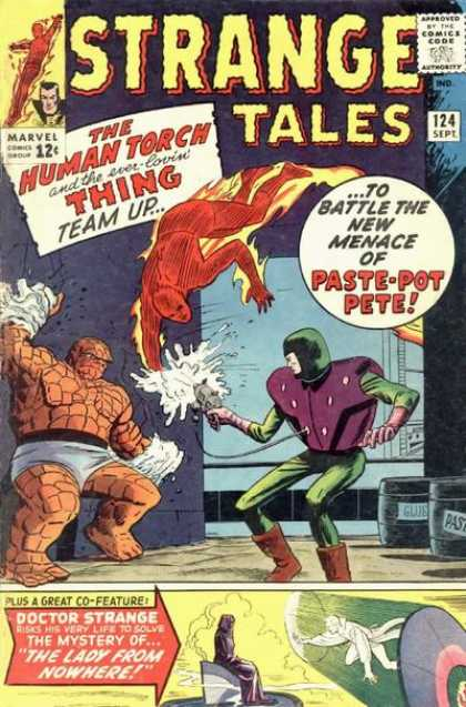 Strange Tales 124 - Human Torch - The Thing - Paste-pot Pete - Doctor Strange - The Lady From Nowhere - Dick Ayers