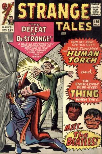 Strange Tales 130 - Meet The Beatles - The Defeat Of Doctor Strange - Human Torch - The Ever-lovin Blue-eyed Thing - Curtain - Charles Stone, Jack Kirby