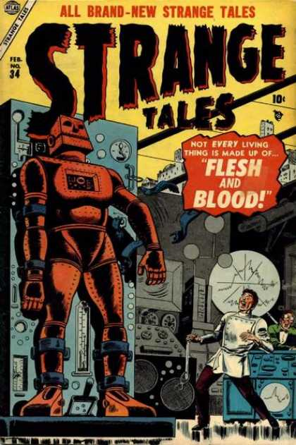 Strange Tales 34 - Robot - Flesh And Blood - Mad Scientist - Laboratory - Metal Man