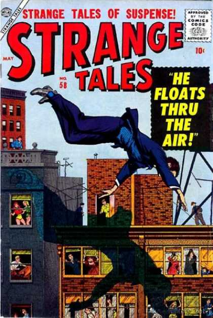 Strange Tales 58 - Blue Suit - Apartment Buildings - Residents - Shadow - Roof Tops - Bill Everett