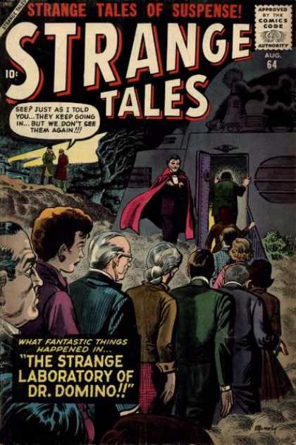 Strange Tales 64 - 64 - Waiting Line - The Strange Laboratory Of Dr Domino - Building - Tree
