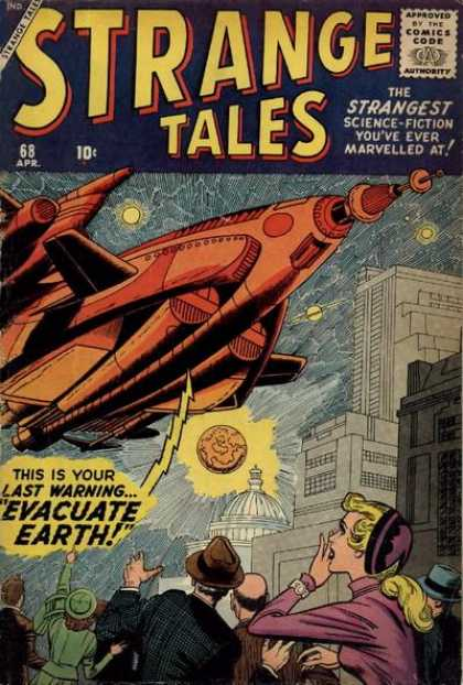 Strange Tales 68 - Science Fiction - Evacuate Earth - Alien Ship - City - Capitol Building