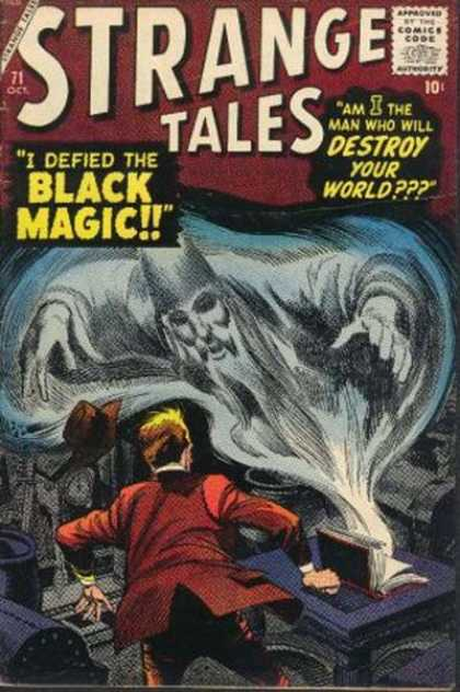 Strange Tales 71 - I Defied The Black Magic - Comics Code - Am I The Man Who Will Destroy The World - Flying Hat