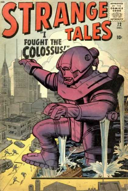 Strange Tales 72 - Colossus - City - Water - People - Running