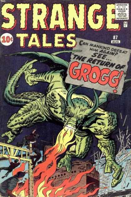 Strange Tales 87 - The Return Of Grogg - Fire - City - Horns - Wings - Dick Ayers, Jack Kirby