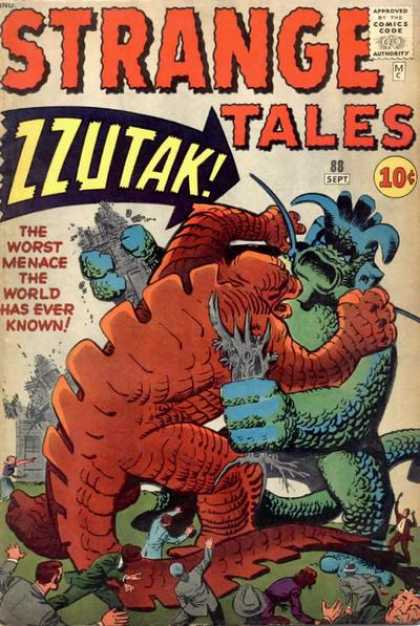 Strange Tales 88 - Approved By The Comics Code - Zzutak - The Worst Menace The World Has Ever Known - Lizard - Man