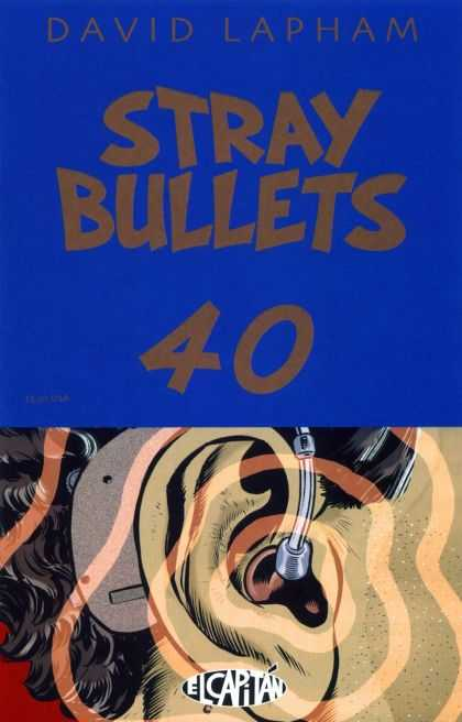 Stray Bullets 40 - Ear - Blue Cover - Black Hair - Sound Waves - Hearing Aid - David Lapham