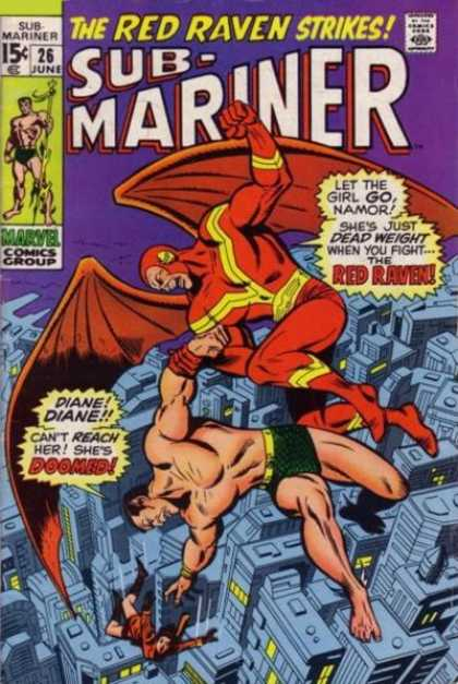 Sub-Mariner (1968) 26 - The Red Raven Strikes - Comics Code - Marvel - City - Battle - Sal Buscema