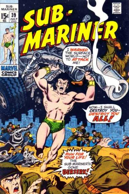 Sub-Mariner (1968) 39 - Marvel Comics Group - 39 July - Soldiers - Town - Wheel - Sal Buscema
