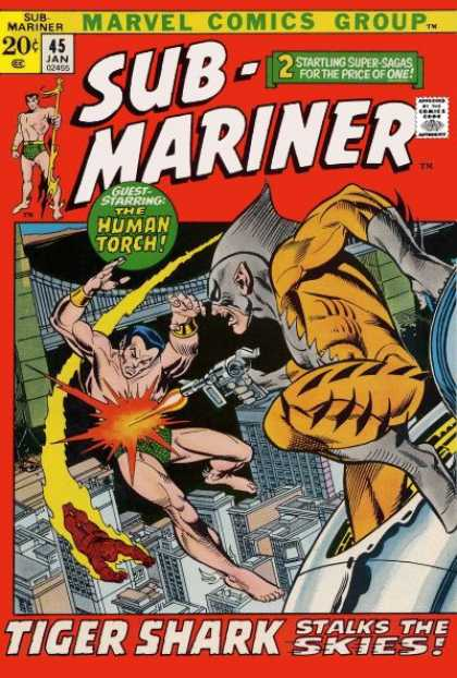 Sub-Mariner (1968) 45 - Two Startling Super-sagas For The Price Of One - Citiscape - Human Torch - In The Sky - Flying