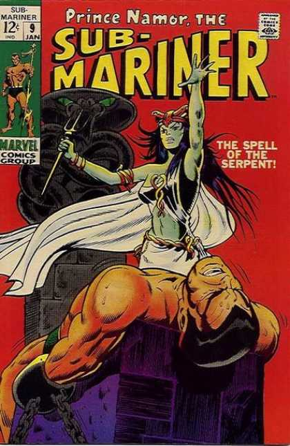 Sub-Mariner (1968) 9 - Red And Green - Serpent - Woman - Strong - Chains