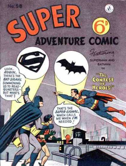 Super Adventure Comic 58 - Signal - Headquarters - Superman - Batman - Contest