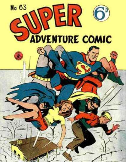 Super Adventure Comic 63 - Flood - House - Rescue - Superman - Batman